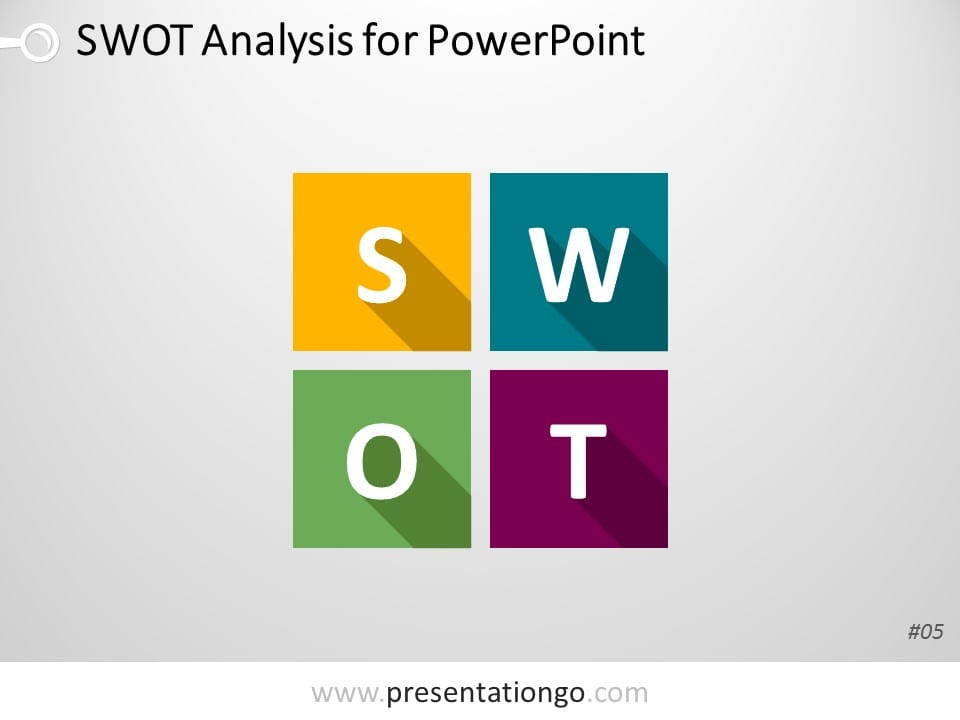 Free PowerPoint SWOT Analysis Matrix with Flat Design