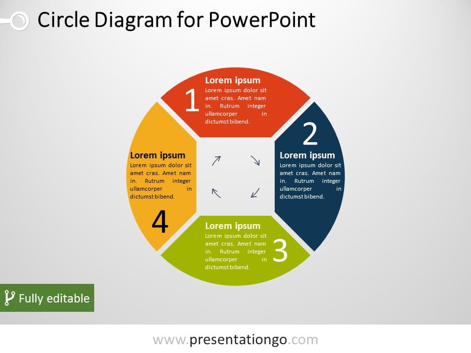 Free 4-Part Circle PowerPoint Diagram