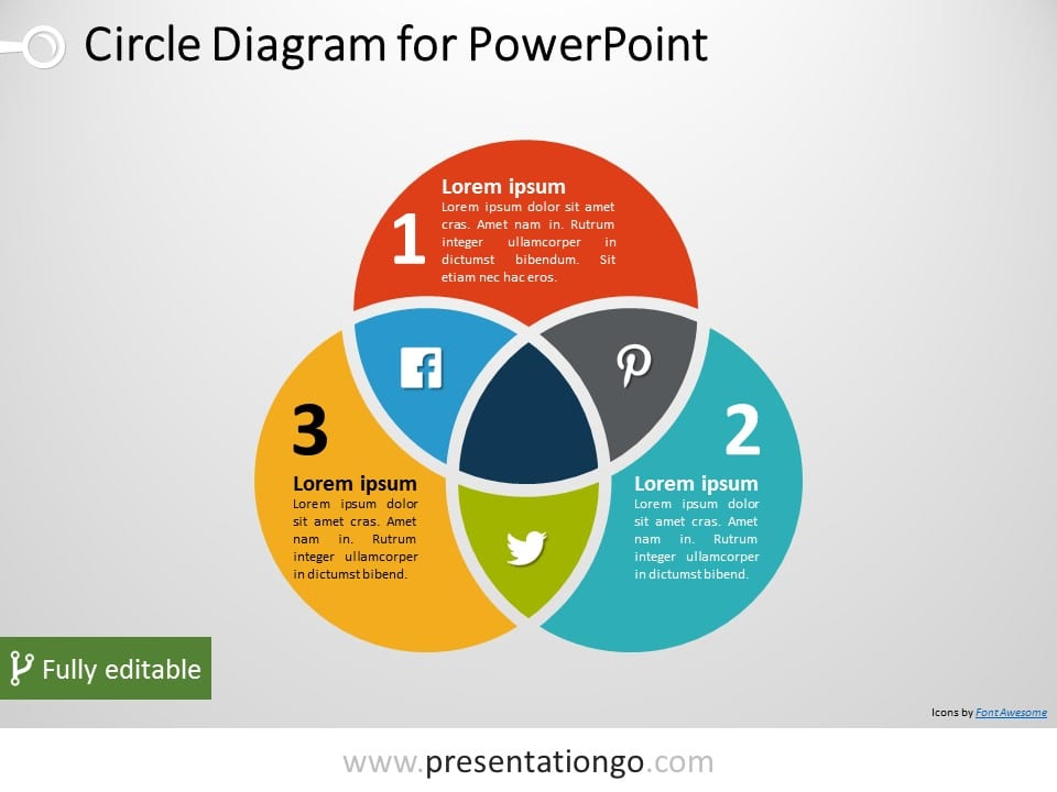 3-Circle Venn PowerPoint Diagram - PresentationGO.com on friend diagram, plot diagram, 3 circle map, relationship circle diagram, venn's diagram, 3 circle template, 3 circle web, 3 circle compare and contrast, overlapping circles diagram, microsoft word diagram, math diagram, market circle diagram, blank vin diagram, vnn diagram, three-ring diagram, college student life diagram, 5 circle diagram, ven diagram, 3 circle chart,