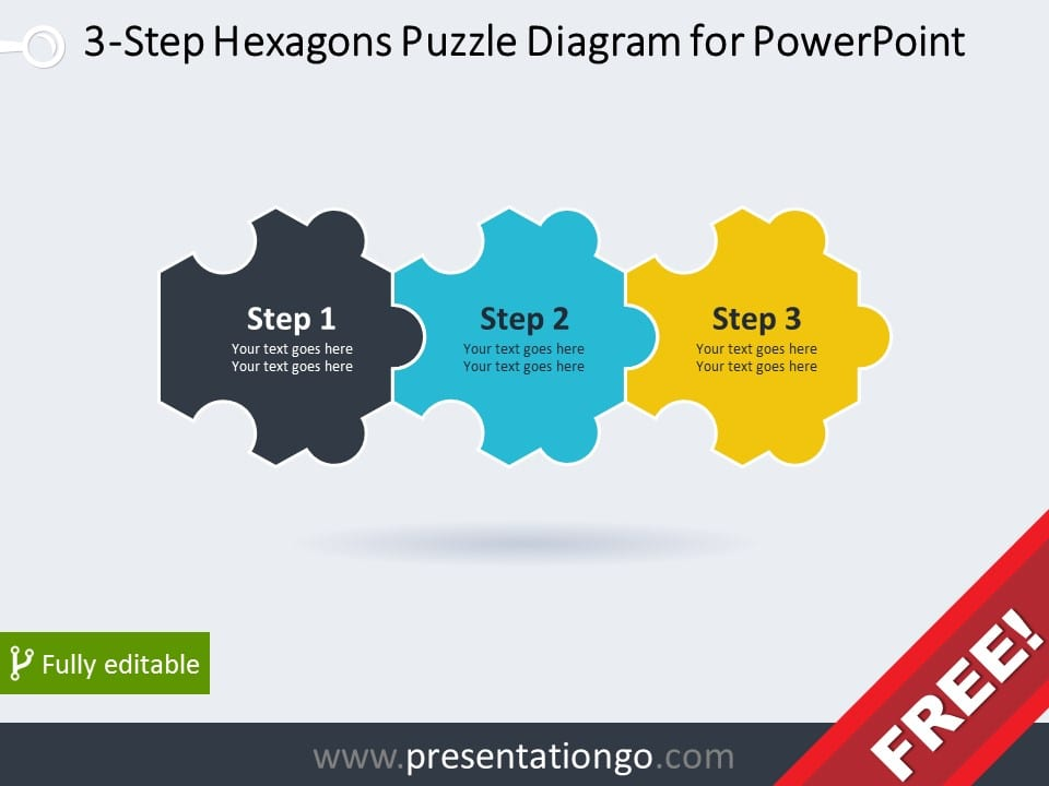 Free puzzles powerpoint templates presentationgo 3 step hexagons puzzle diagram for powerpoint ccuart