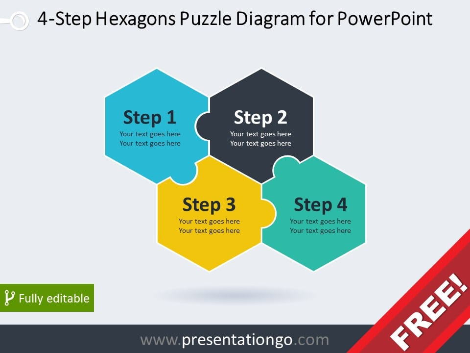 Free diagram for PowerPoint with 4 hexagonal puzzle pieces