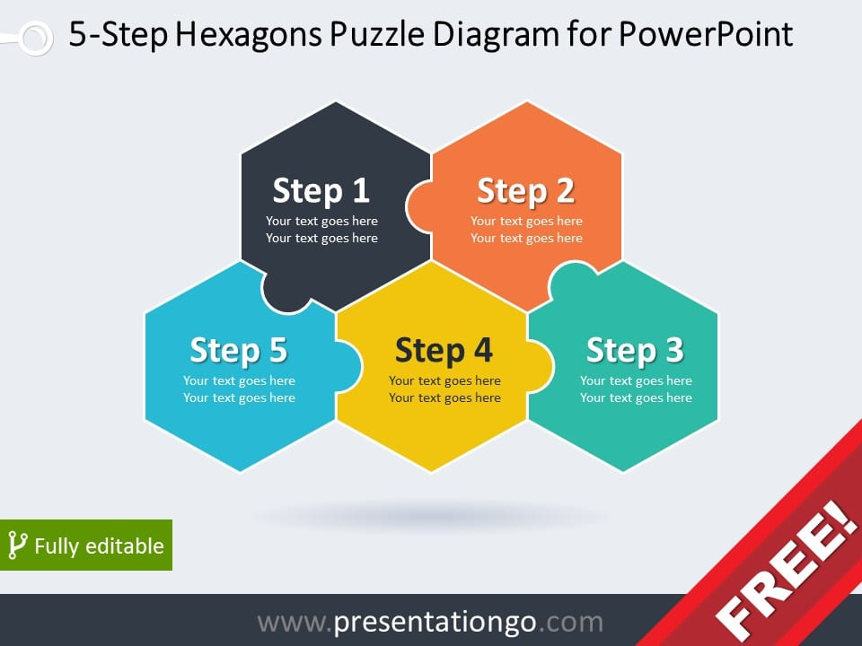 Free diagram for PowerPoint with 5 hexagonal puzzle pieces
