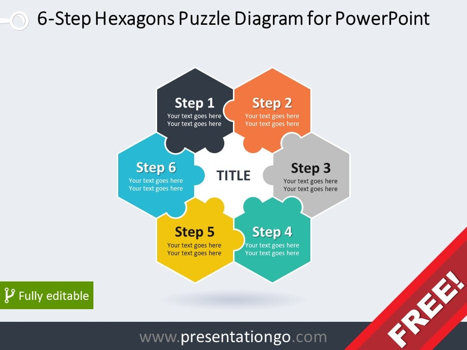Free diagram for PowerPoint with 6 hexagonal puzzle pieces
