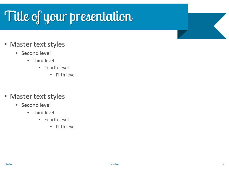Blue Ribbon Banner PowerPoint Template - Slide 2