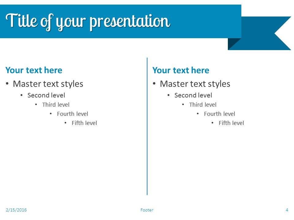 Blue Ribbon Banner PowerPoint Template - Slide 4