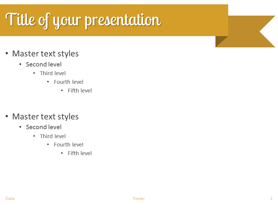 Gold Ribbon Banner PowerPoint Template - Slide 2