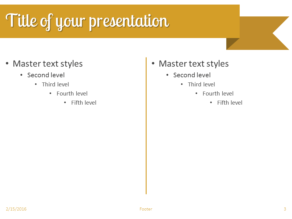 Gold Ribbon Banner PowerPoint Template - Slide 3