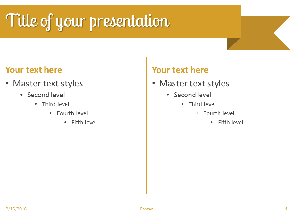 Gold Ribbon Banner PowerPoint Template - Slide 4