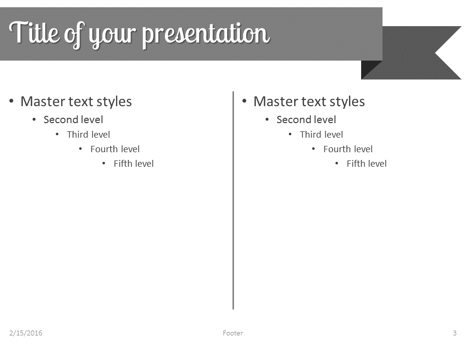 gray ribbon banner powerpoint template