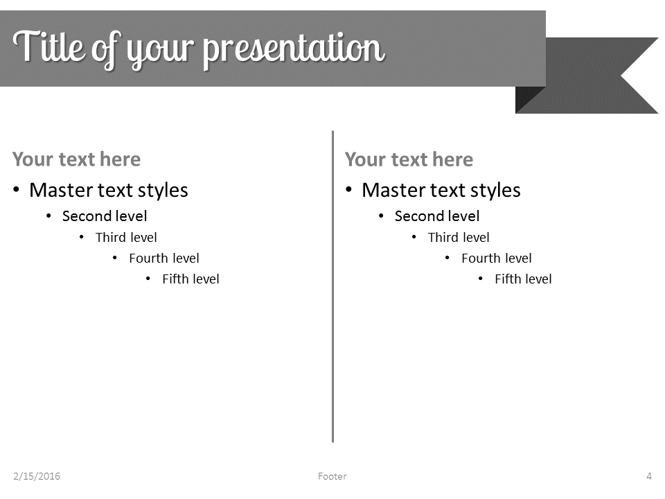 Gray Ribbon Banner PowerPoint Template - Slide 4