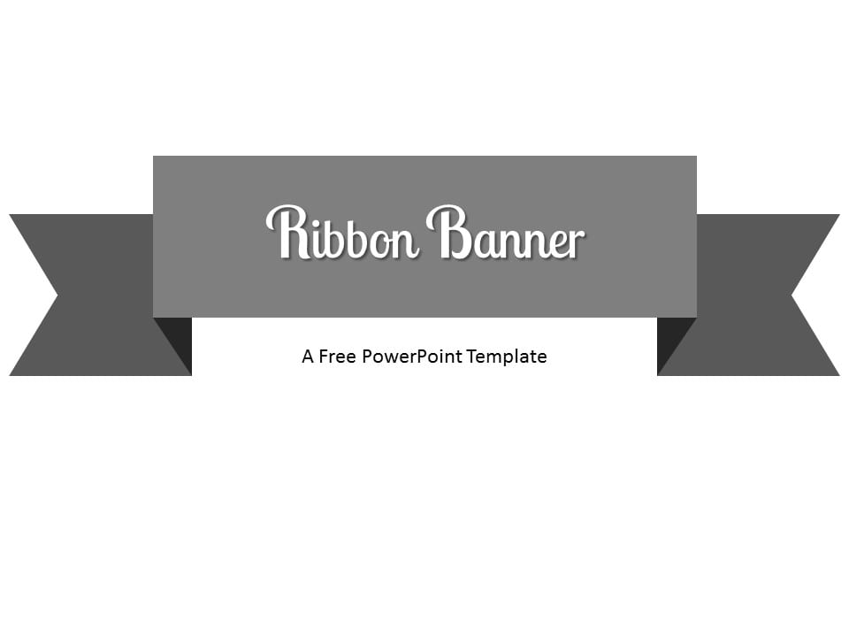 Free Gray Ribbon Banner PowerPoint Template