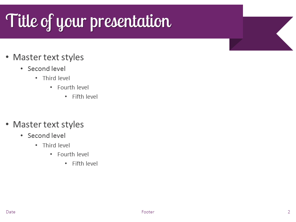 Purple Ribbon Banner PowerPoint Template - Slide 2