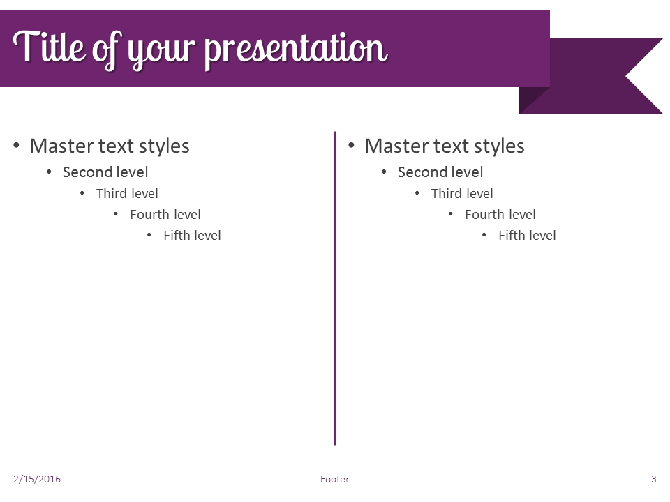 Purple Ribbon Banner PowerPoint Template - Slide 3