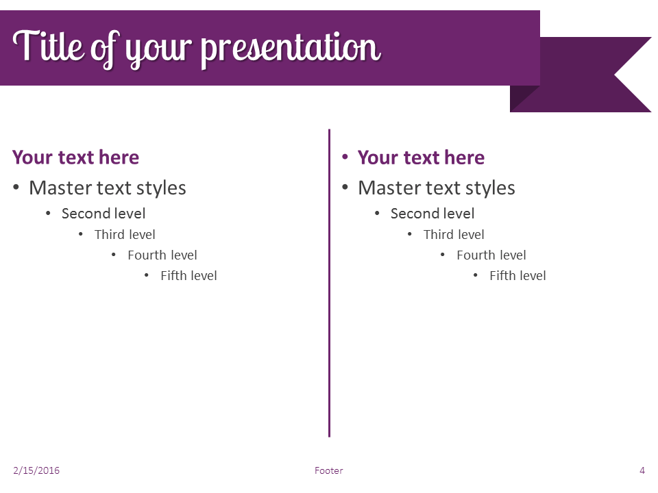 Purple Ribbon Banner PowerPoint Template - Slide 4