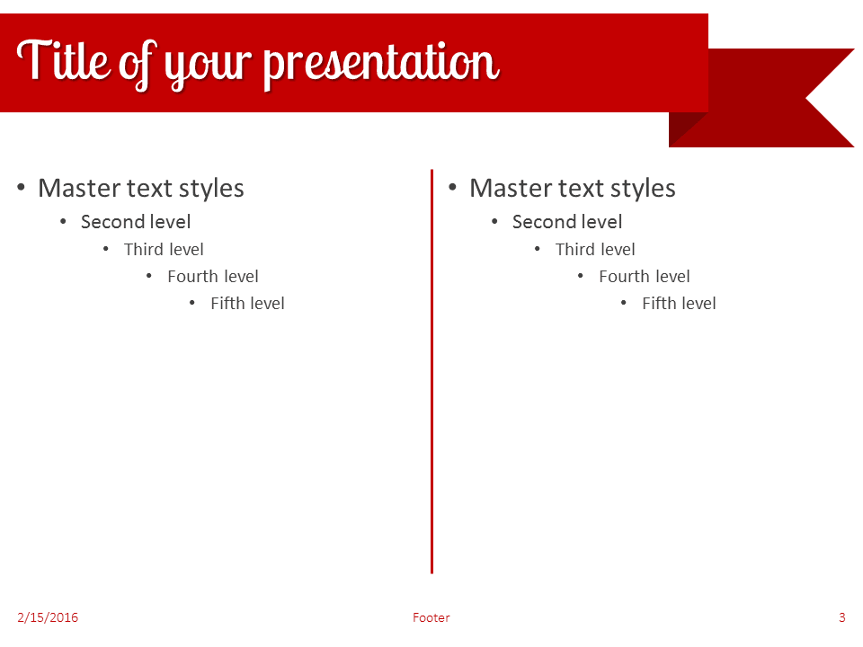 Red Ribbon Banner Powerpoint Template