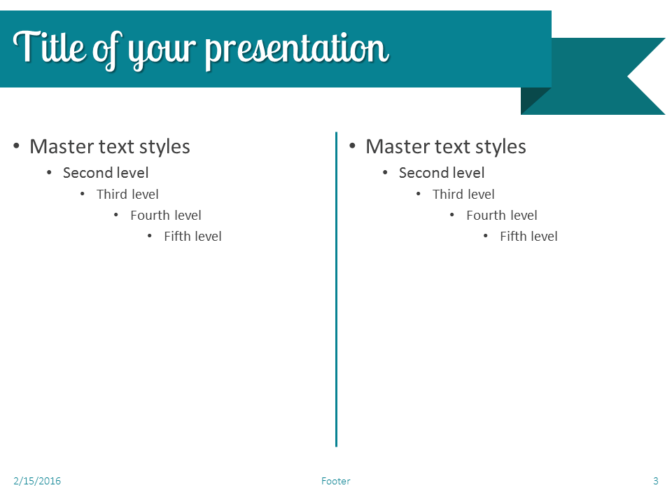 Turquoise Ribbon Banner PowerPoint Template - Slide 3
