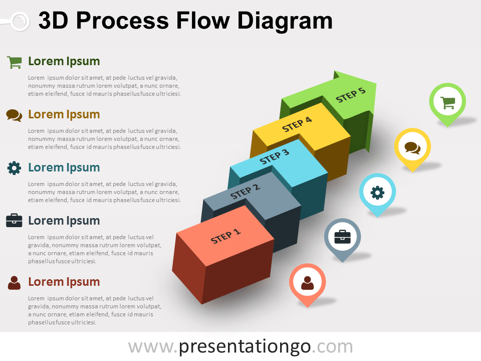 Diagram process flow diagram ppt template : 3D Process Flow PowerPoint Diagram - PresentationGO.com