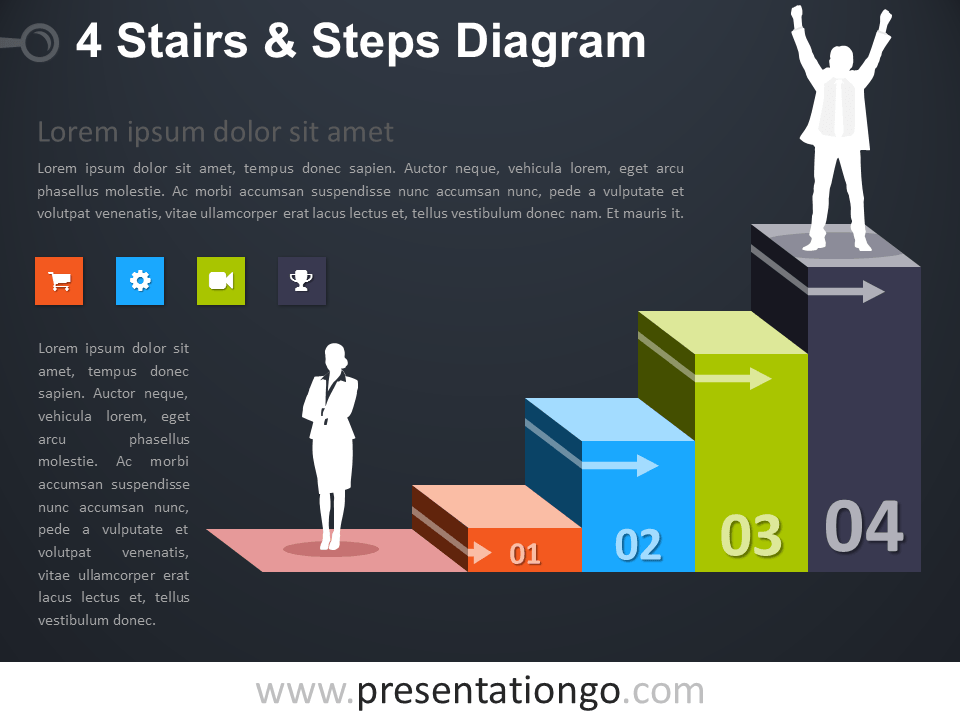 Free editable 4 Stairs and Steps PowerPoint Diagram - Dark Background