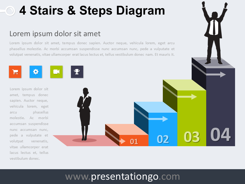 Free editable 4 Stairs and Steps PowerPoint Diagram