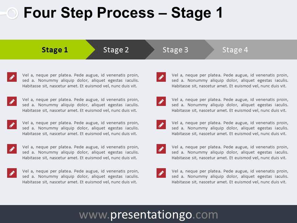 Free 4 Step Process PowerPoint Template - Stage 1