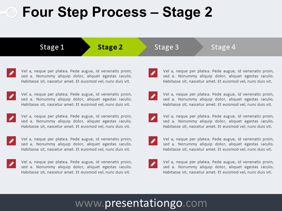 Free 4 Step Process PowerPoint Template - Stage 2