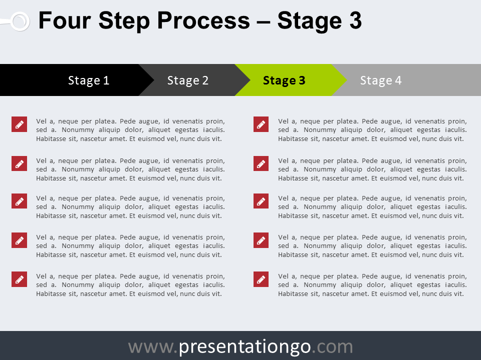 Free 4 Step Process PowerPoint Template - Stage 3