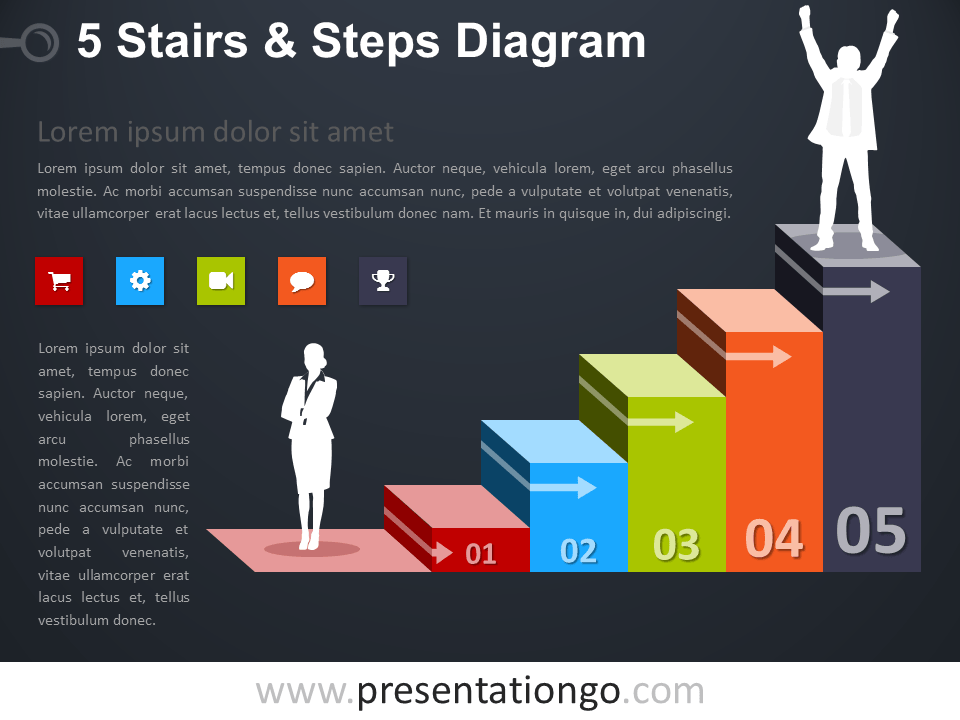 Free editable 5 Stairs and Steps PowerPoint Diagram - Dark Background