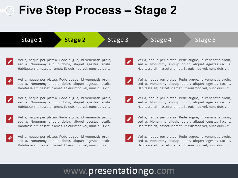 Free 5 Step Process PowerPoint Template - Stage 2
