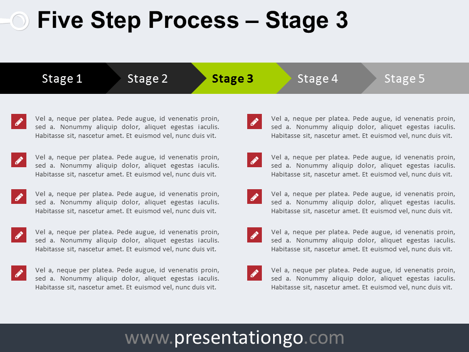 Free 5 Step Process PowerPoint Template - Stage 3