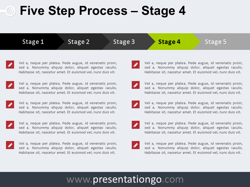 Free 5 Step Process PowerPoint Template - Stage 4