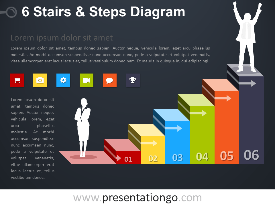Free editable 6 Stairs and Steps PowerPoint Diagram - Dark Background