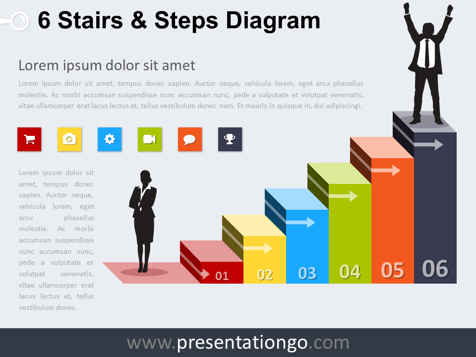 Free editable 6 Stairs and Steps PowerPoint Diagram