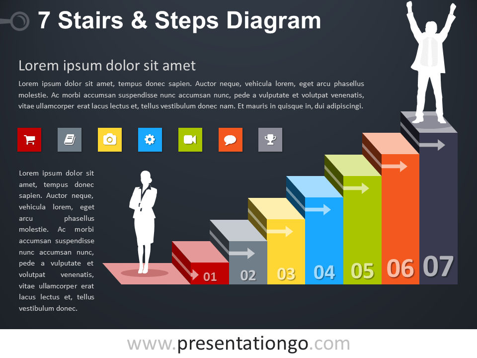 Free editable 7 Stairs and Steps PowerPoint Diagram - Dark Background