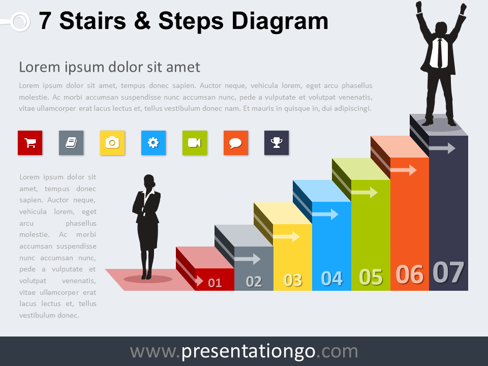 Free editable 7 Stairs and Steps PowerPoint Diagram