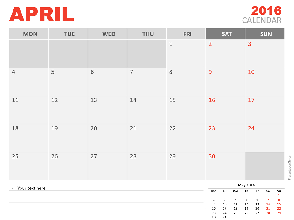 Free April 2016 PowerPoint Calendar Start Monday