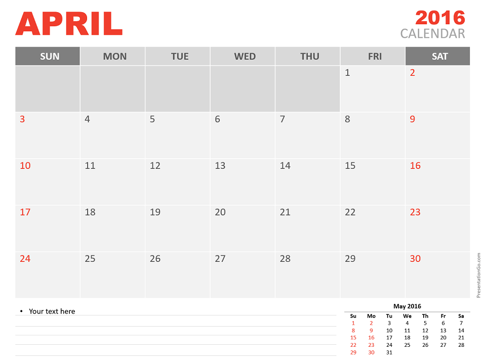 Free April 2016 PowerPoint Calendar Start Sunday