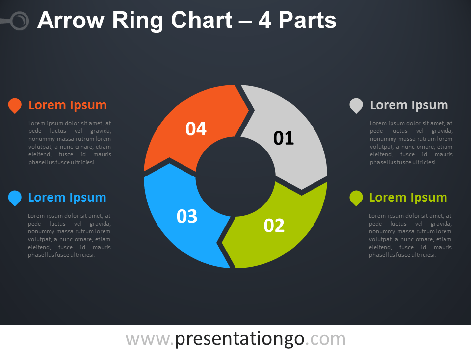 Free editable 4-Parts Arrow Ring PowerPoint Chart - Dark Background