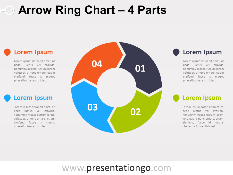 Free editable 4-Parts Arrow Ring PowerPoint Chart
