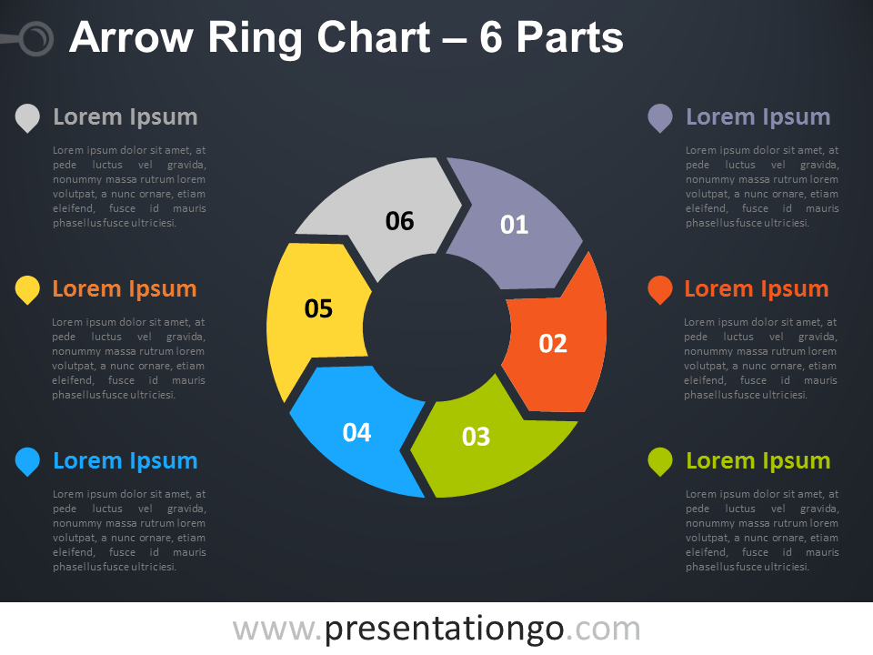 Free editable 6-Parts Arrow Ring PowerPoint Chart - Dark Background