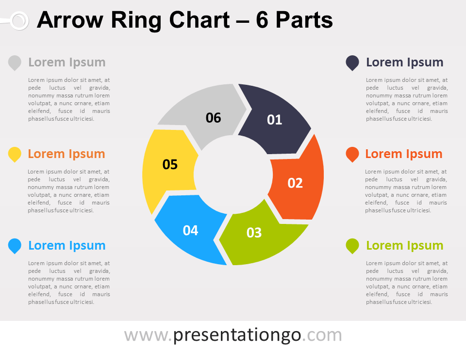 Free editable 6-Parts Arrow Ring PowerPoint Chart
