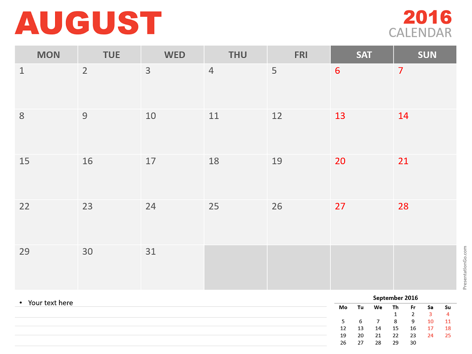 Free August 2016 PowerPoint Calendar Start Monday