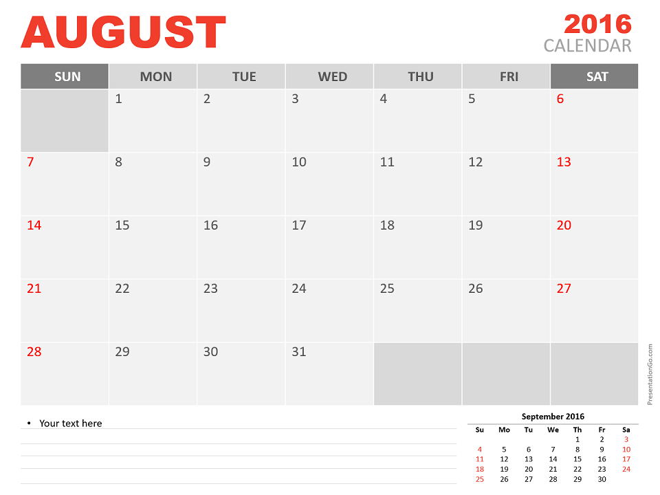Free August 2016 PowerPoint Calendar Start Sunday