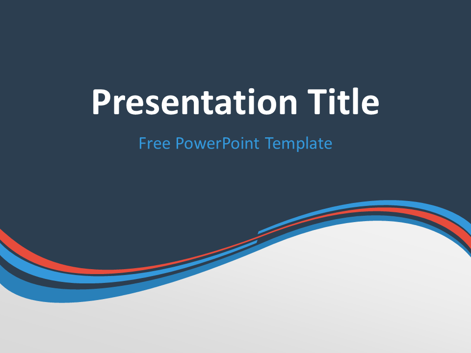 Abstract Free Blue Orange Wave PowerPoint Template with dark background