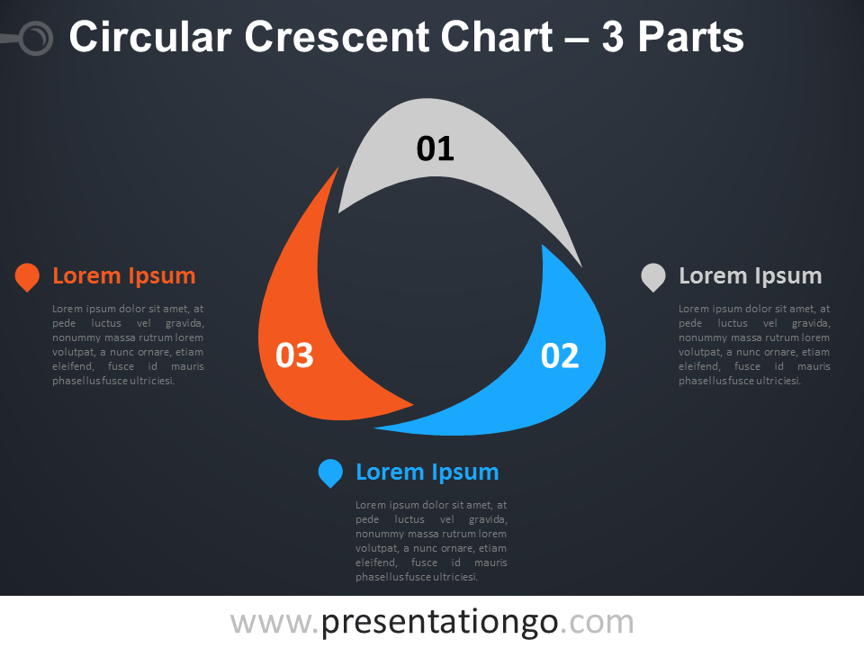 Free editable Circular Crescent PowerPoint Diagram with 3 Parts - Dark Background