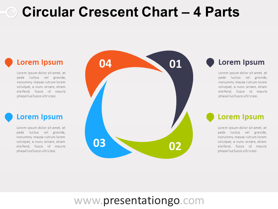 4-parts Circular Crescent Powerpoint Chart