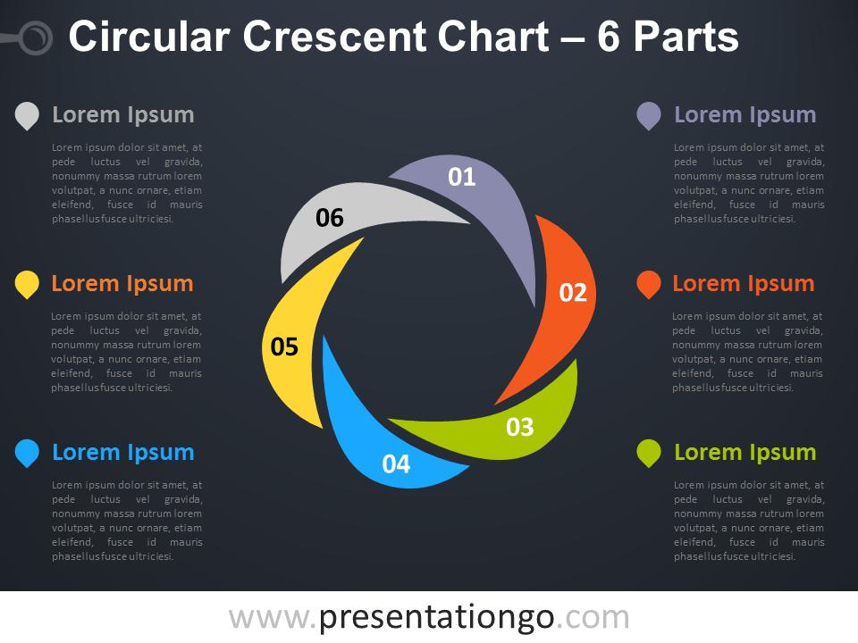 6-parts circular crescent powerpoint chart
