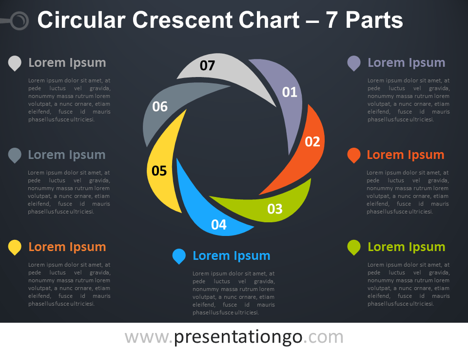 Free editable Circular Crescent PowerPoint Diagram with 7 Parts - Dark Background
