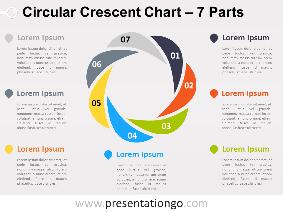 7-parts Circular Crescent Powerpoint Chart