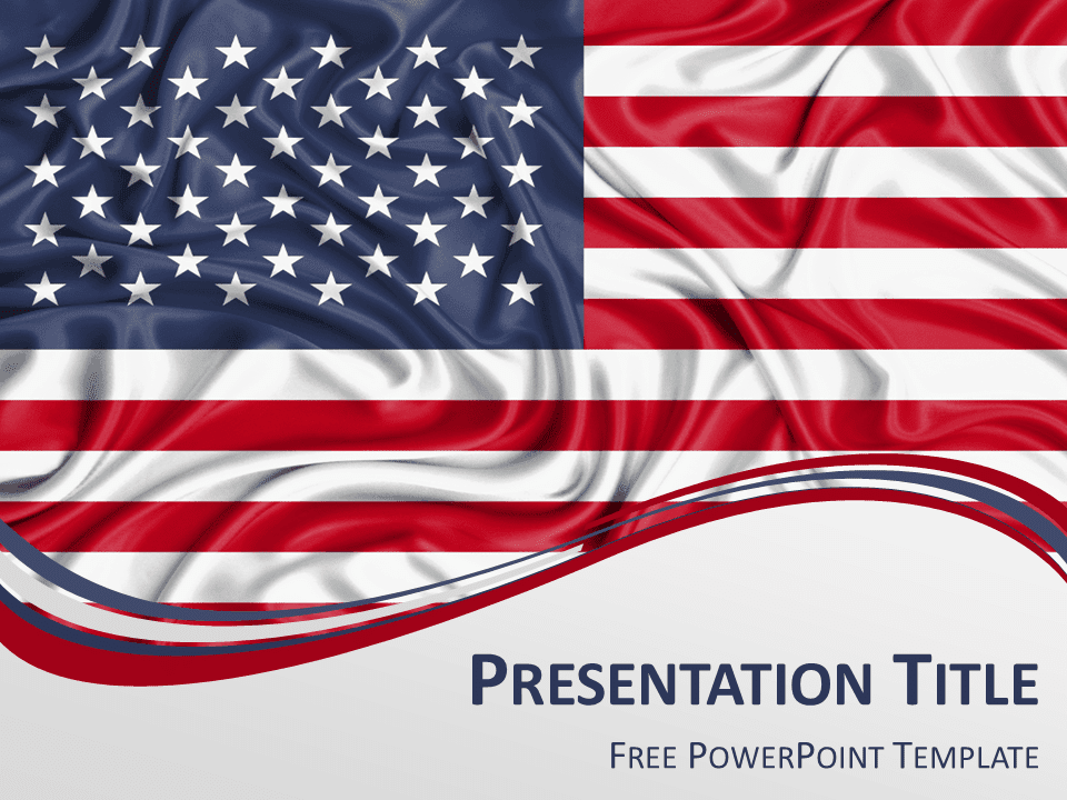 Free PowerPoint template with flag of the United States background