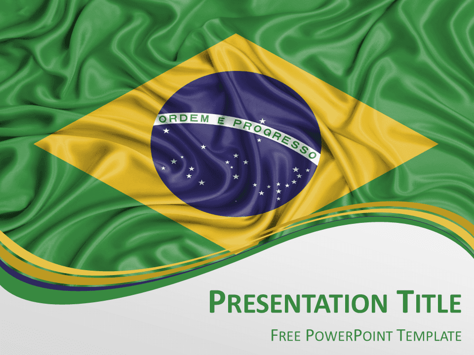 view larger image free powerpoint template with flag of brazil background